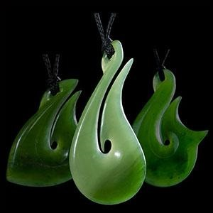 Three Maori Greenstone Jewelry Necklaces